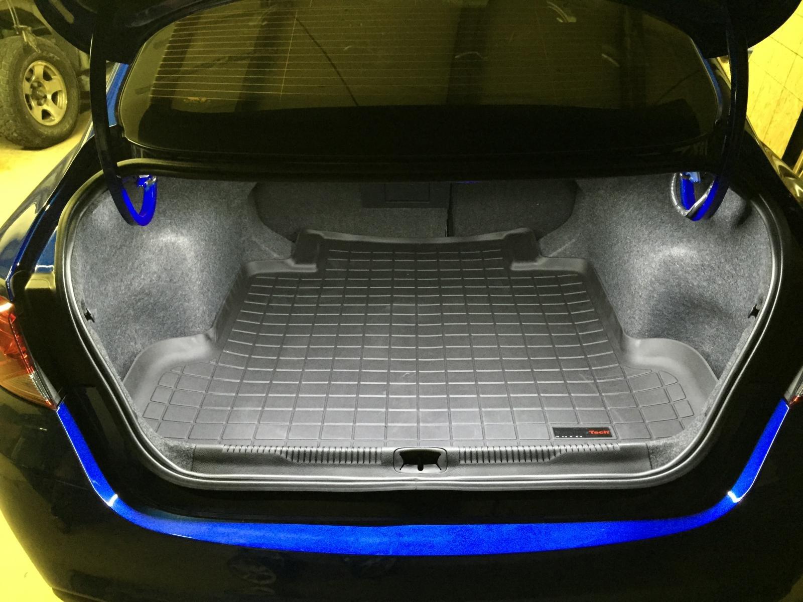 led trunk light and floor liner installed